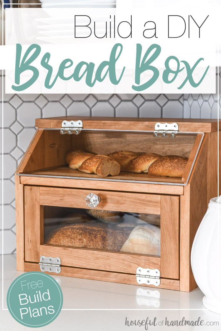 Build a beautiful DIY bread box with the Kreg Jig. This large bread box has plenty of room for multiple loaves of bread. And a pull out cutting board shelf. Housefulofhandmade.com | #DIY #buildplans #kitchen #bread #storage