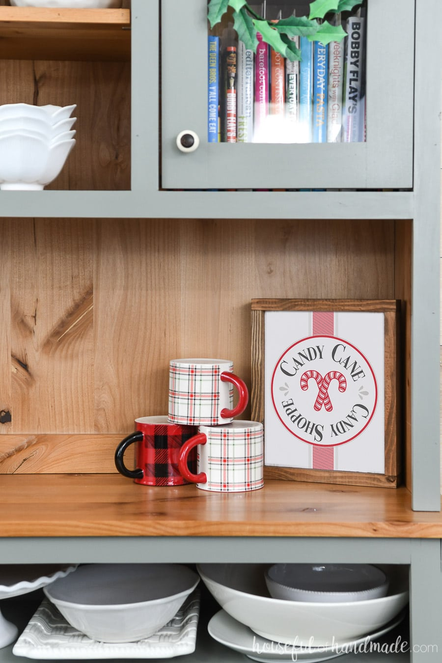 Dining Room hutch decorated with the easiest DIY wood signs.