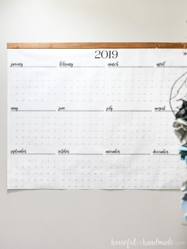 Giant 4' by 3' printable yearly calendar on the wall.