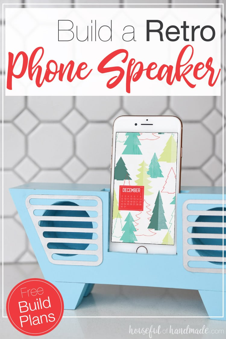 Build this retro wooden speaker for a phone out of scraps! It's a great DIY gift idea for teens or adults. The phone speaker amplifier will make any phone louder while looking great. Housefulofhandmade.com | #diygifts #buildplans #woodworking #phone #scrapwood