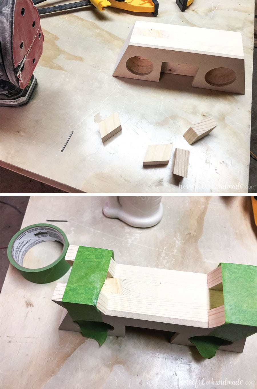 Attaching feet to the retro DIY wooden speaker.
