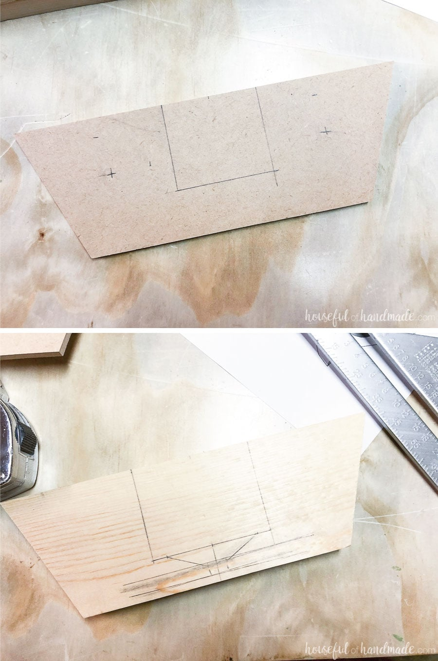Marking the position of the cutting and drilling for the DIY phone speaker.