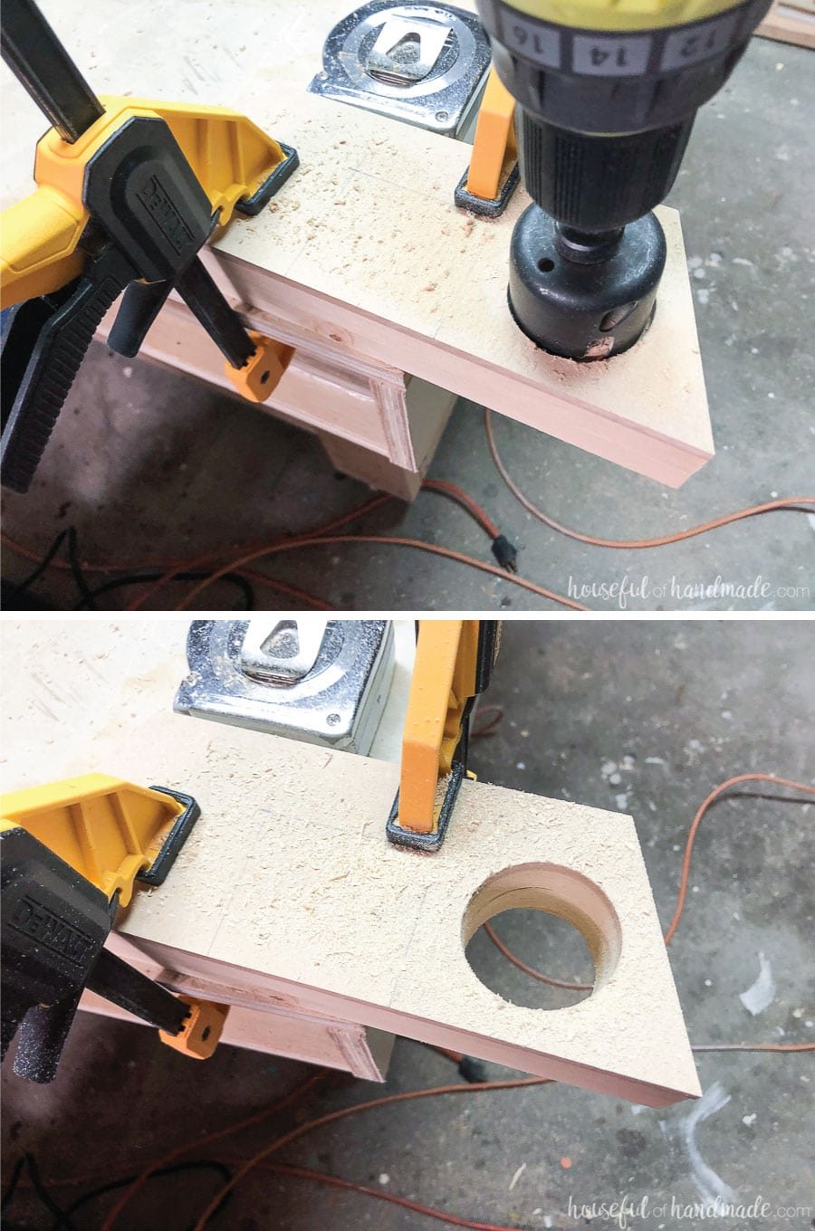 Drilling the holes in three of the boards of the wooden speaker for phone.