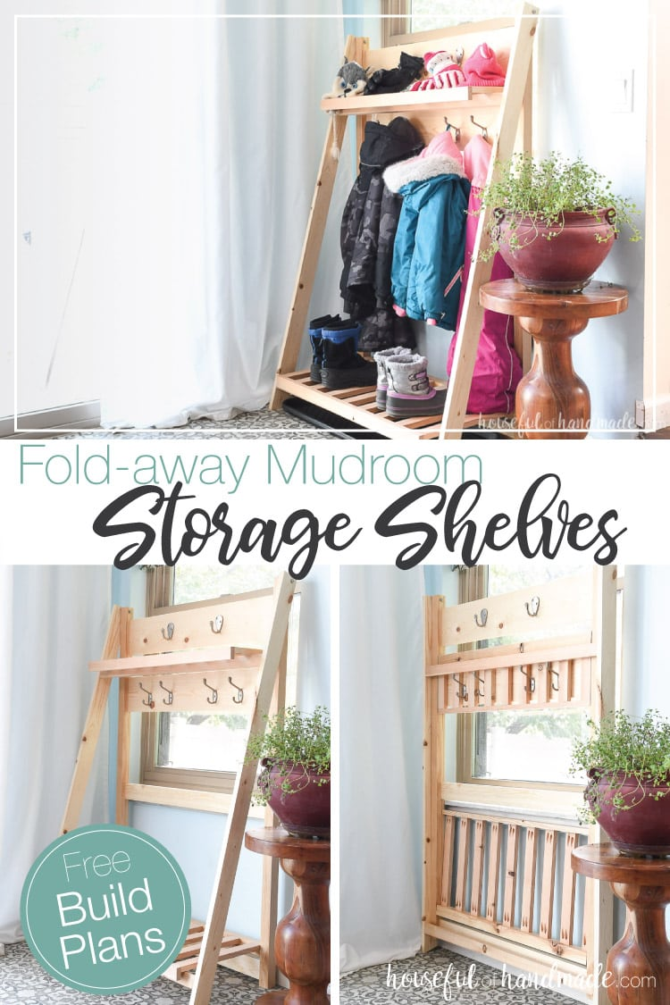 Pictures of the collapsible storage shelves in use with snow pants and gloves, empty and folded.