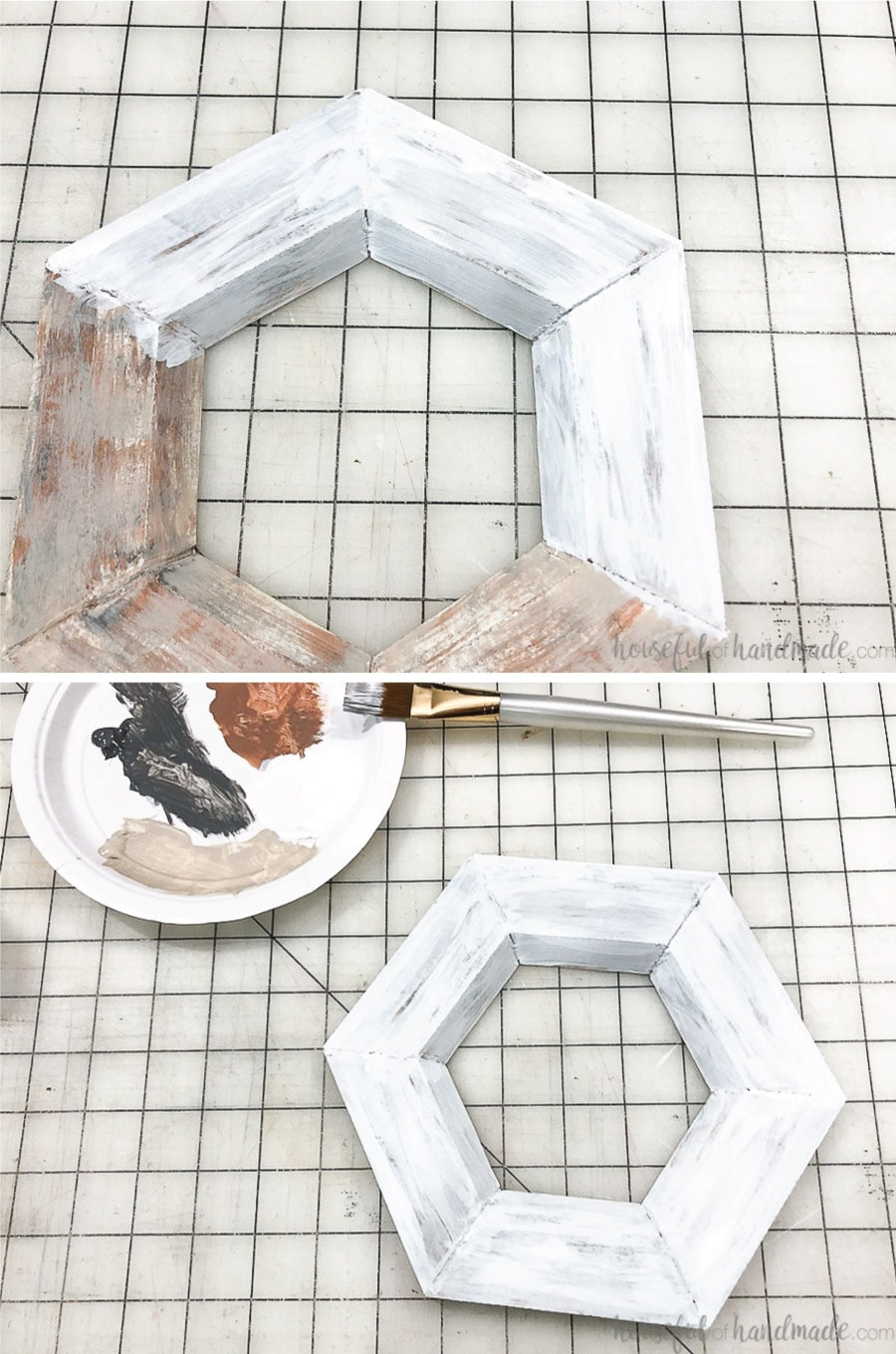 Painting the top white coat on the hexagon wall mirror.