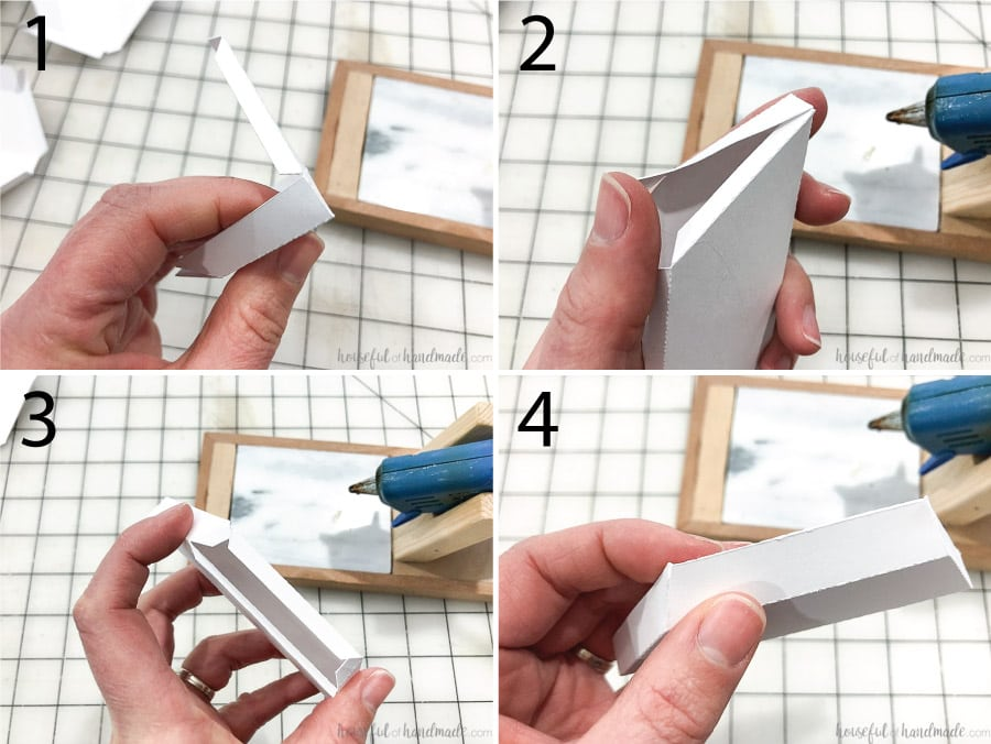 Steps for glueing together the small decorative mirror frame pieces.