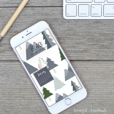 White iPhone with a winter themed digital background on the screen.