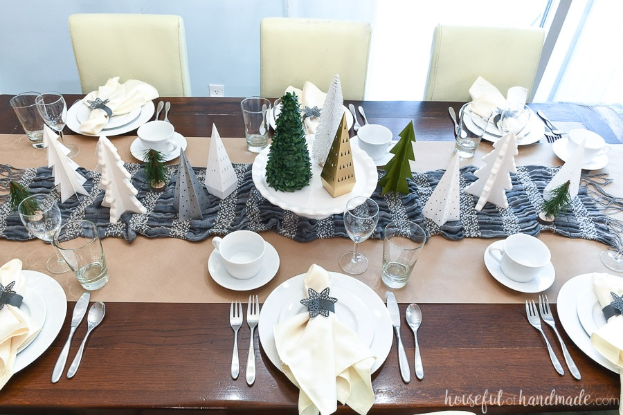 Top view of the winter tablescape made from reusing paper Christmas decor.