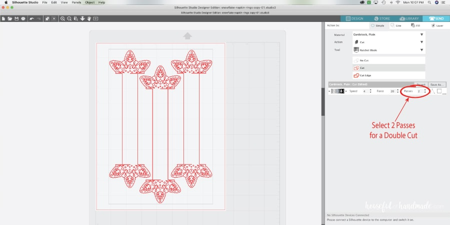 Screenshot of the cut settings for the paper napkin rings in the Silhouette Design Software.