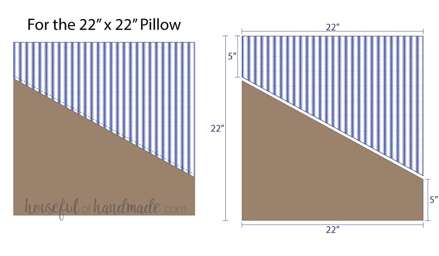 Illustrations for cutting pieces for a diagonal decorative leather pillow cover.