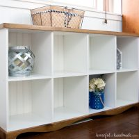 Farmhouse Console Table DIY from Cube Bookcase
