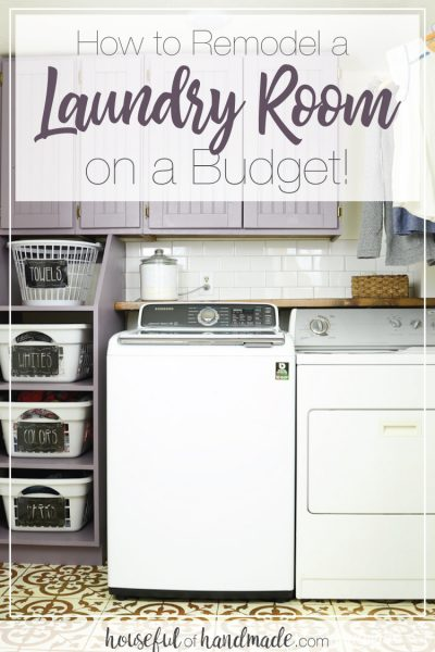 Laundry room remodeled on a budget with purple cabinets and stenciled floor.