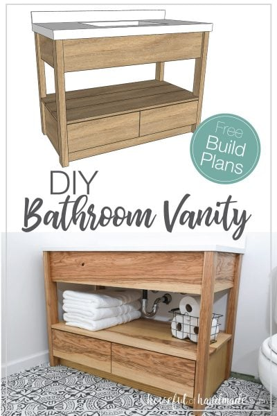 Sketchup drawing of DIY bathroom vanity plans and finished built modern bathroom vanity.