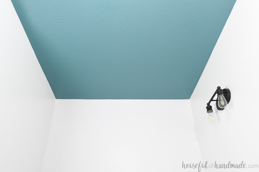 Ceiling painted the easy way with blue-green paint.