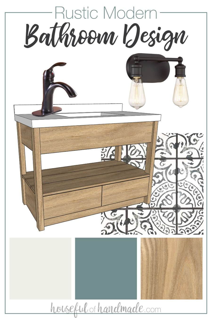 Rustic modern bathroom design for our small guest bathroom.