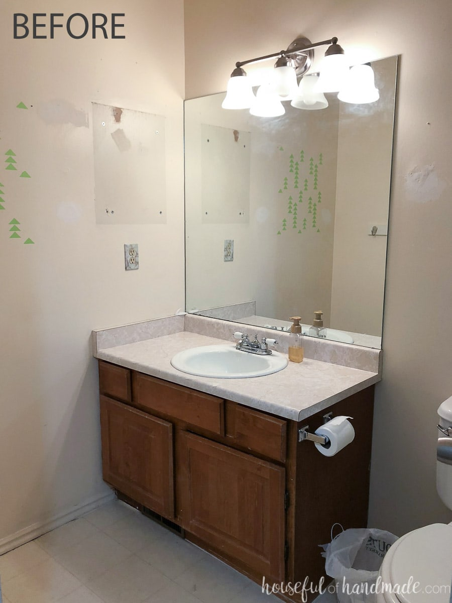 Before picture of the guest bathroom before a rustic modern remodel.