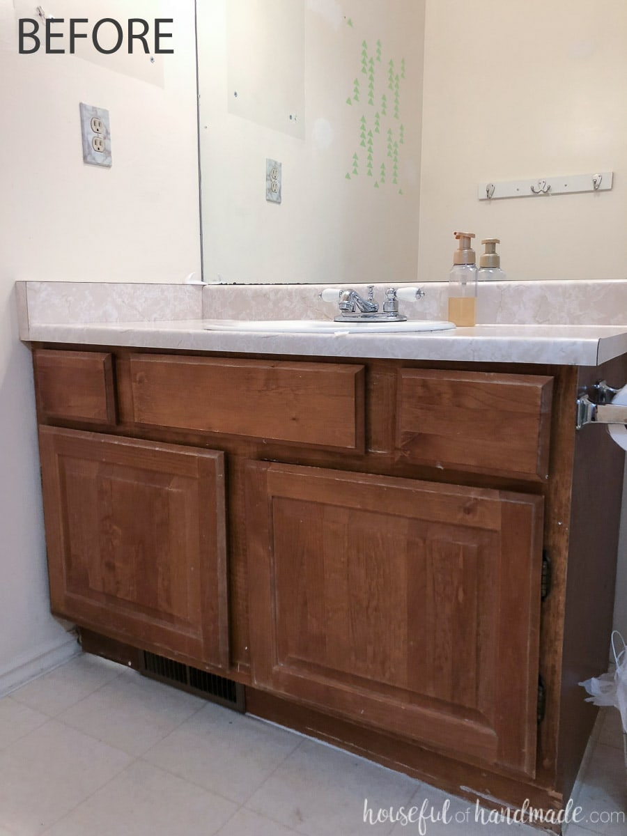 Close up of the guest bathroom vanity before the remodel.
