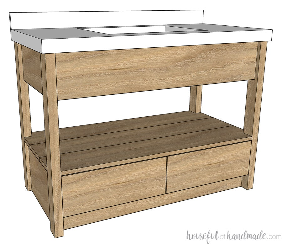 Sketchup drawing of the rustic modern bathroom vanity with drawers on the bottom and open shelves.