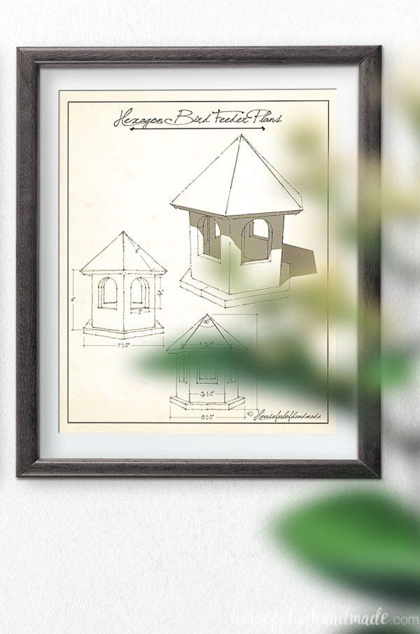 Hexagon bird feeder plans as sketched vintage art.