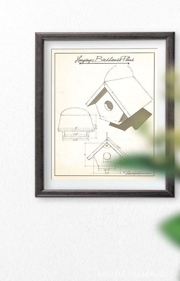 Hanging birdhouse build plans as a vintage art print.