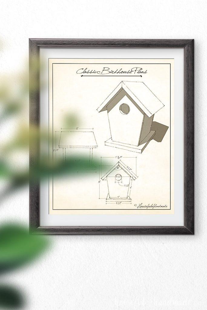Vintage birdhouse plans art for a classic style birdhouse.