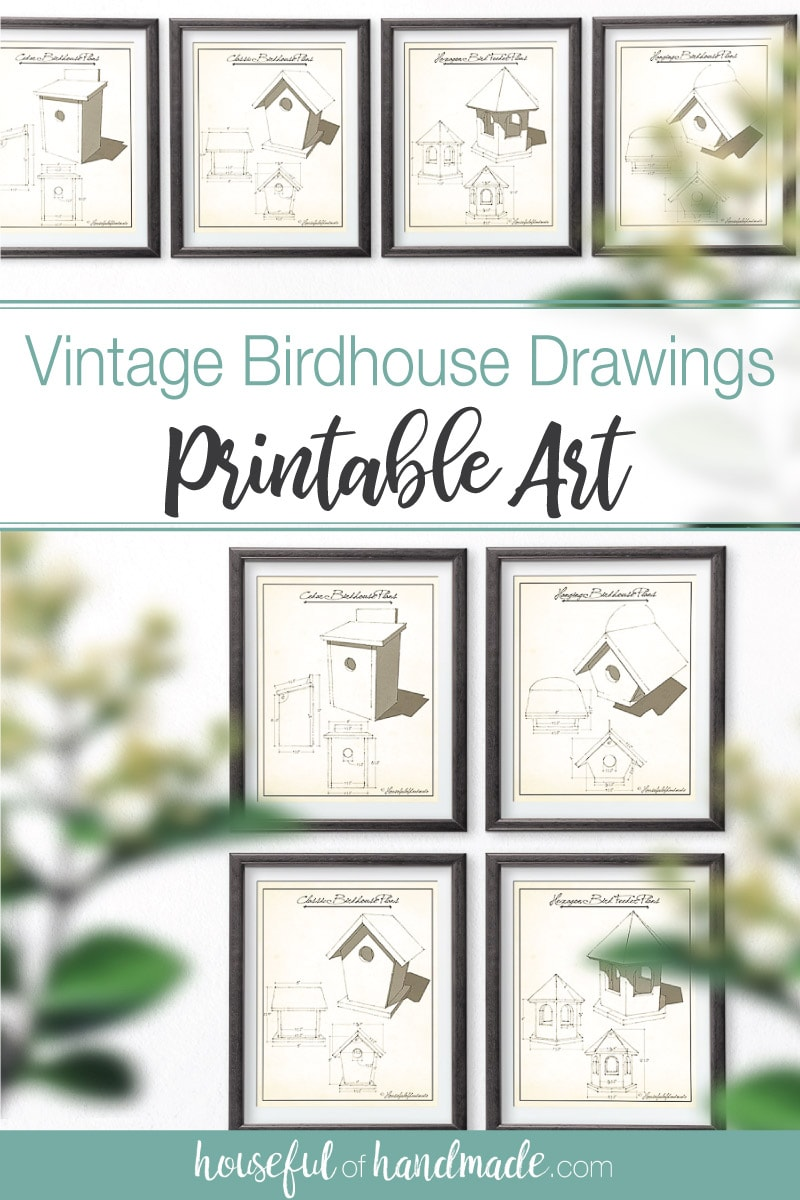 Vintage birdhouse drawings as printable art.