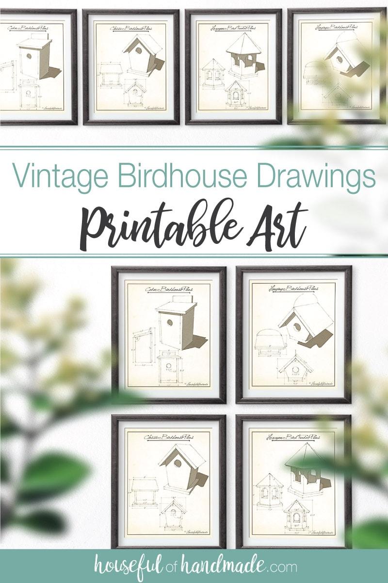 Vintage birdhouse drawings as printable art.