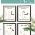Four different vintage birdhouse plans sketched and made up as wall art.