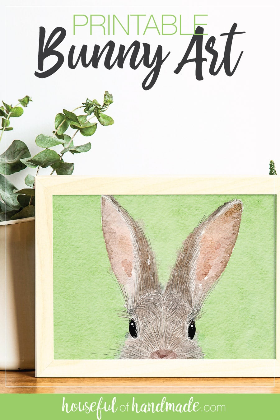 Watercolor and pen bunny art in a frame.