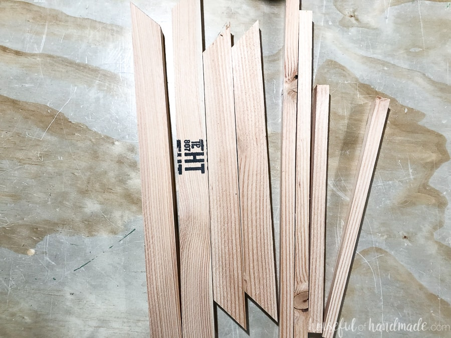 Strips of 1x2 cut to make a decorative window frame wreath.