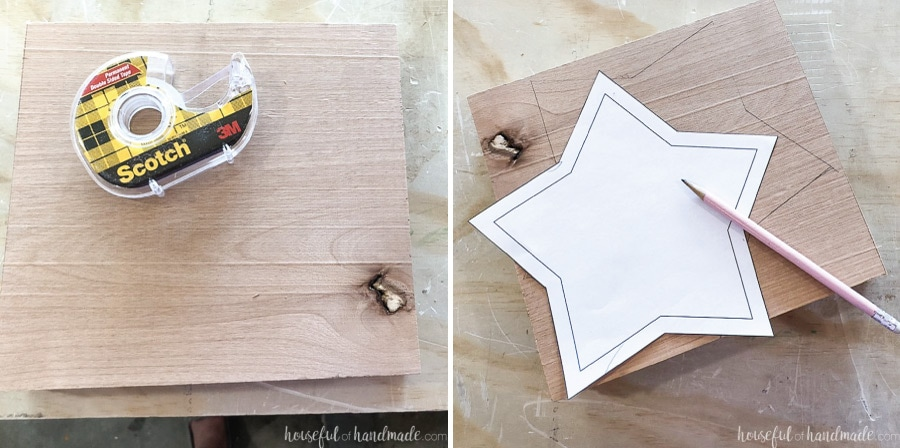 The two boards stuck together with double sided tape and then with the star template traced on top