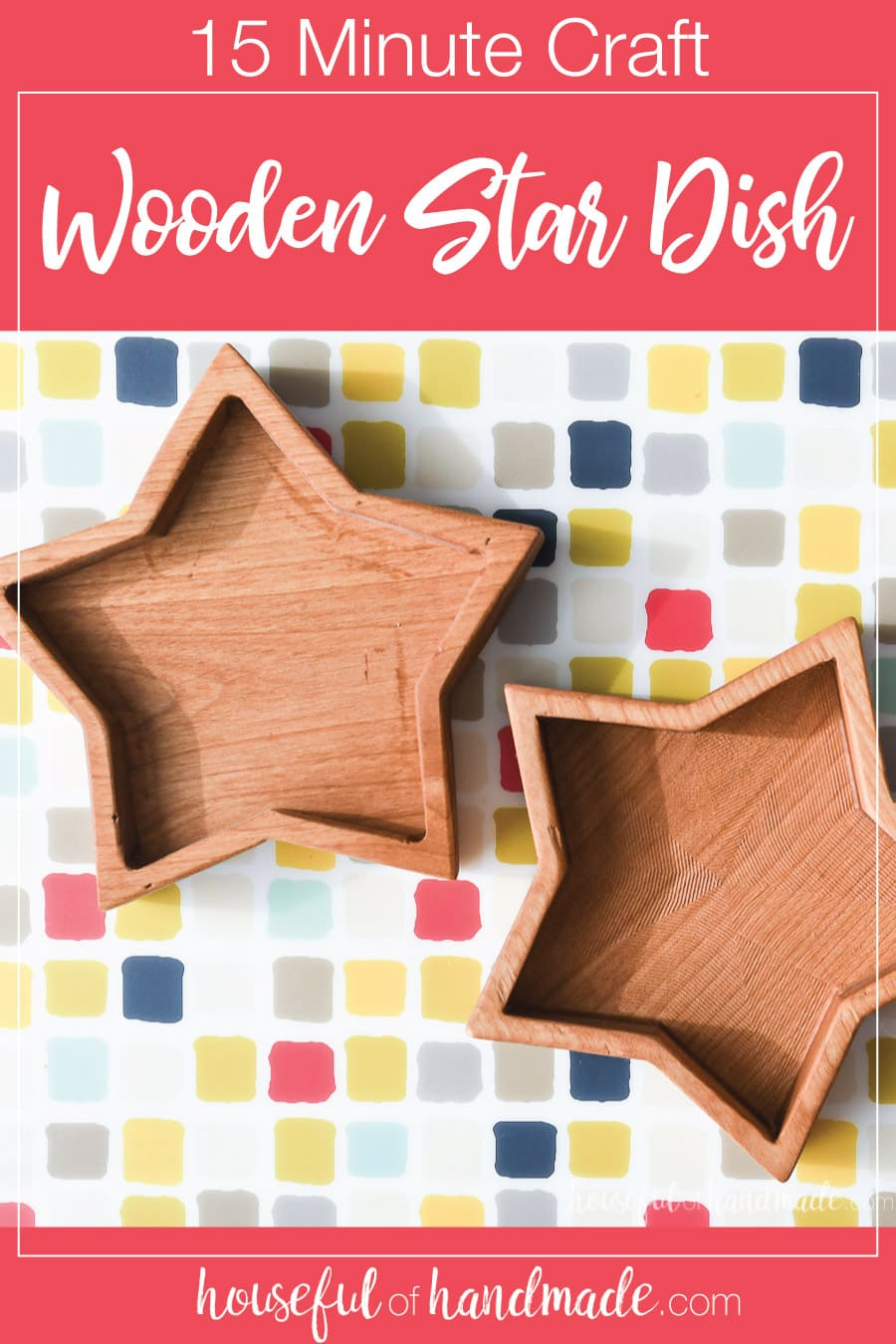 Two wooden star dishes on a background with words
