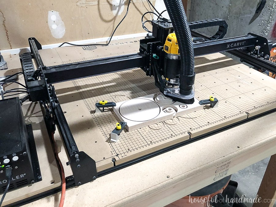 X-carve cutting out the pieces to make the DIY cake stands.