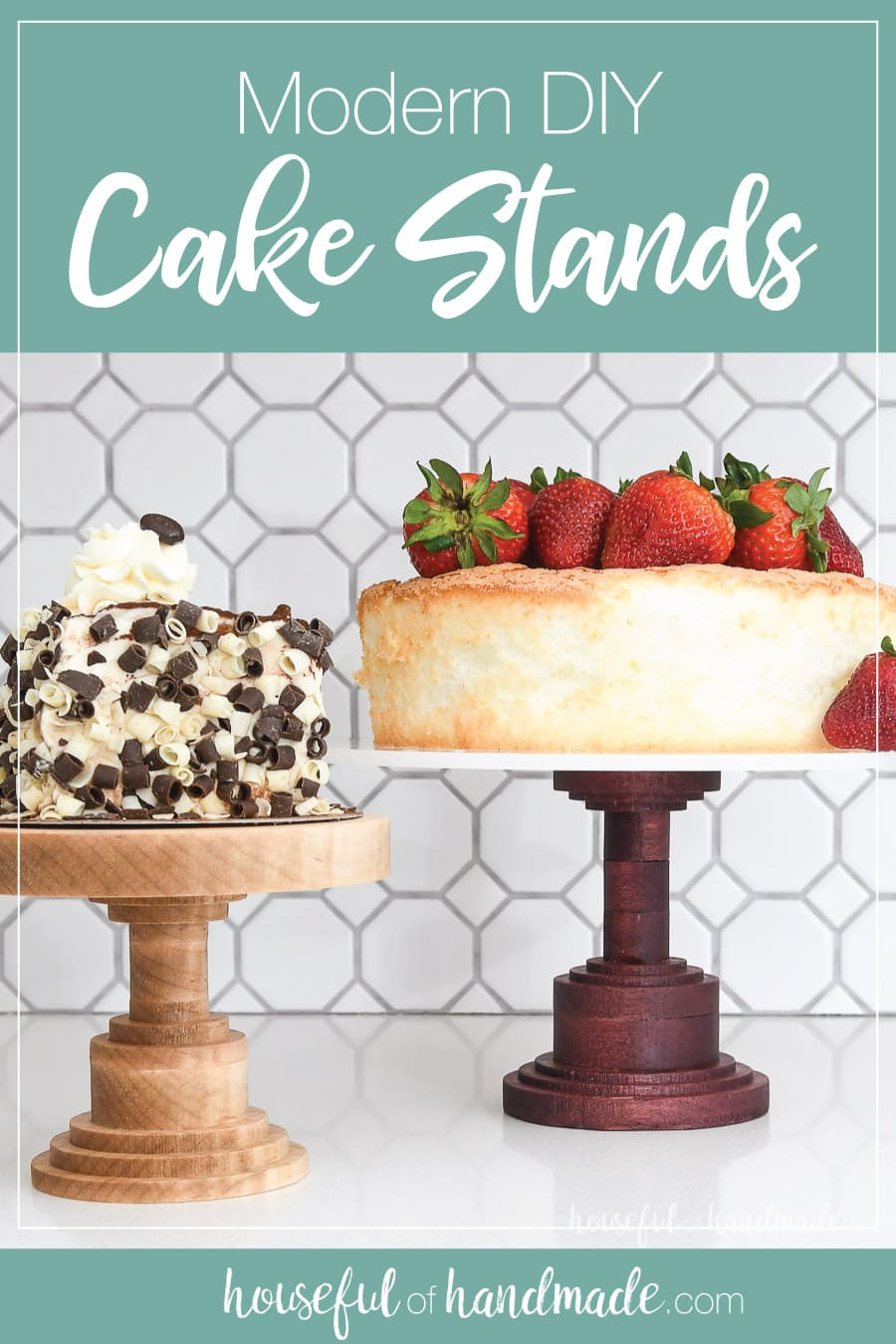 Two modern DIY cake stands made from hardwood with words above it.