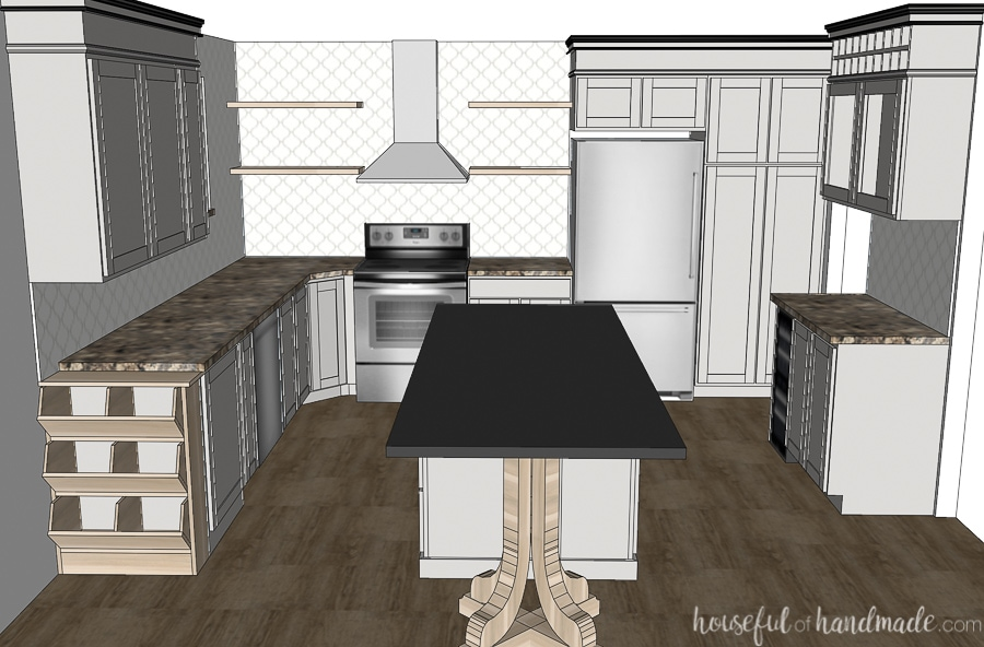 Straight on view of a 3D rendering of the modern kitchen on a budget.
