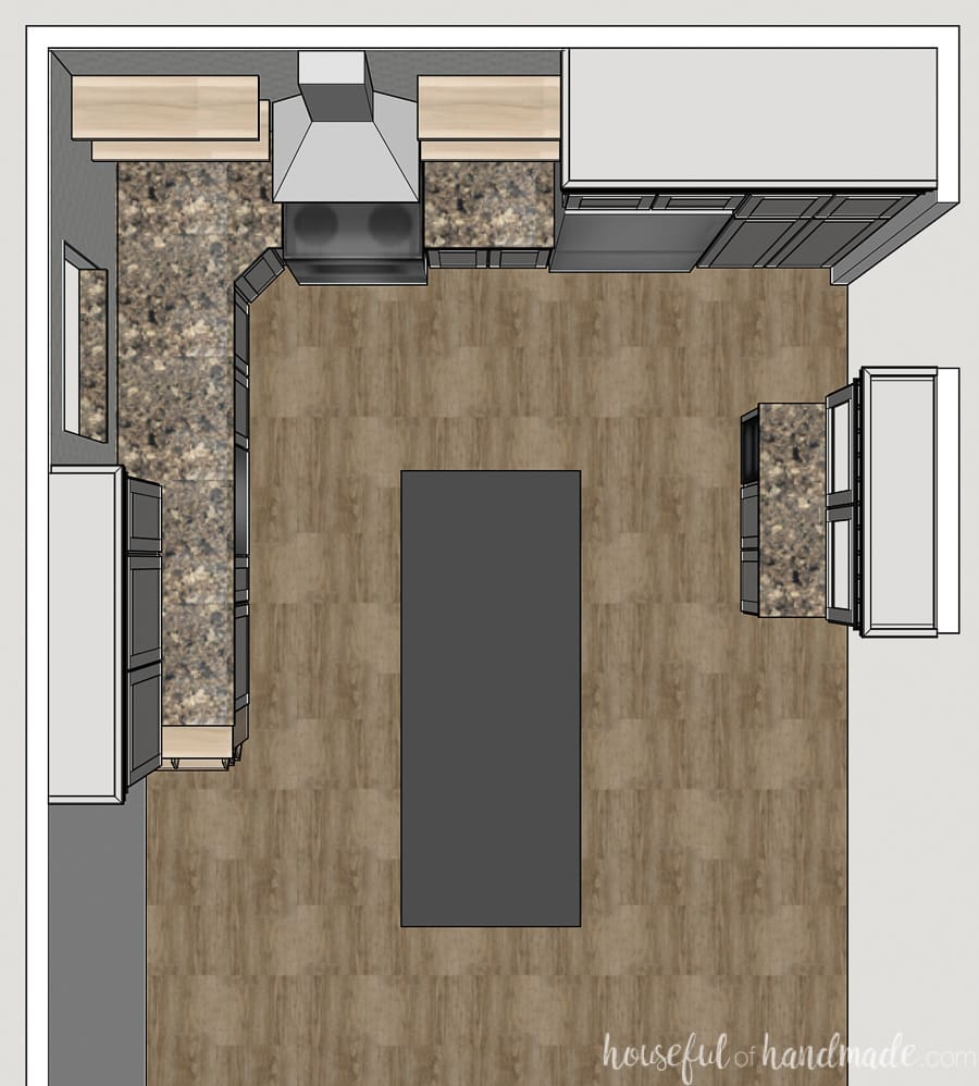 Top view of the plan for the modern kitchen remodel on a budget.