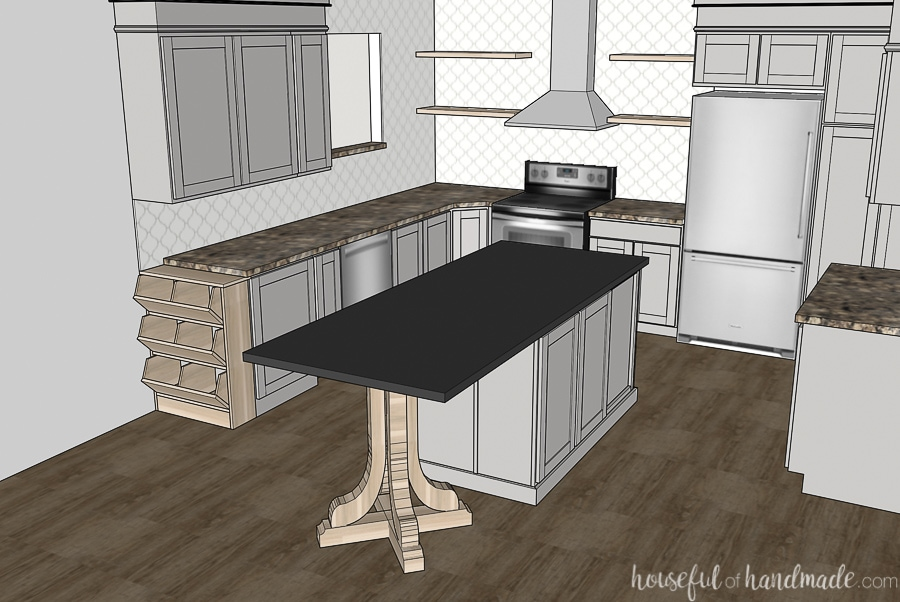 Kitchen remodel sketch of kitchen with gray cabinets, black granite island, open shelves around the stove and wood flooring.