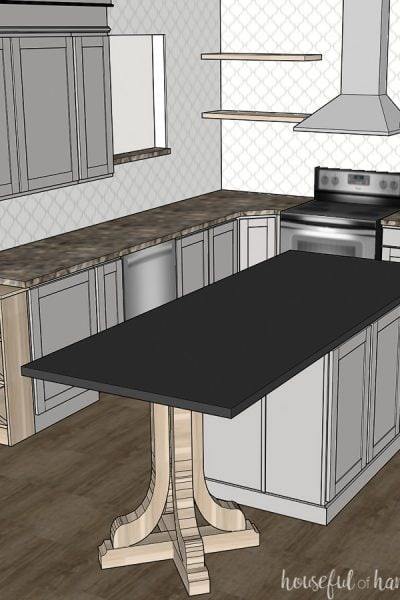 Square photo of the 3D rendering of the modern kitchen remodel design.
