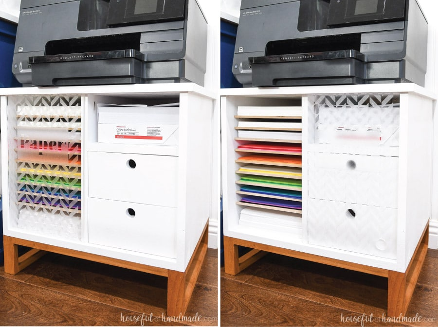 Printer stand with plexiglass door covering paper storage next to picture with it slid over to expose paper storage.