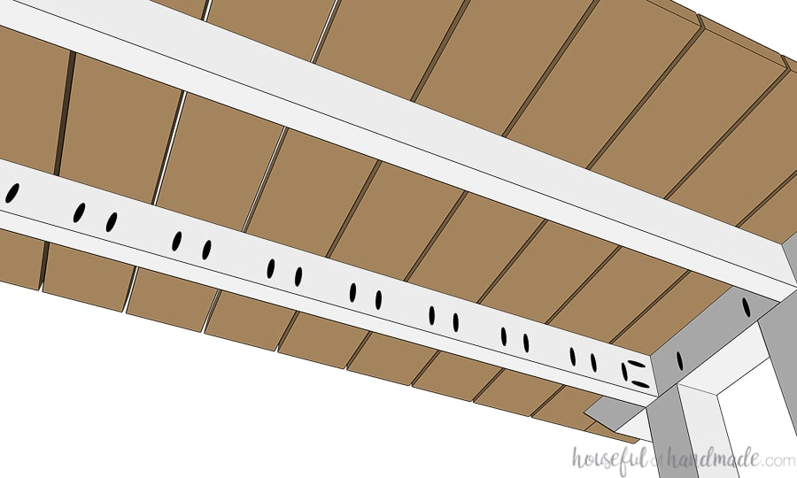 Underside view of the top slats being attached to finish the picnic table plans.