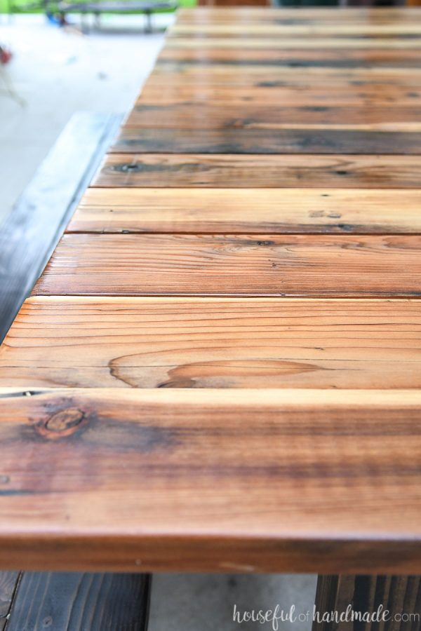 Close-up of reclaimed redwood picnic table top.