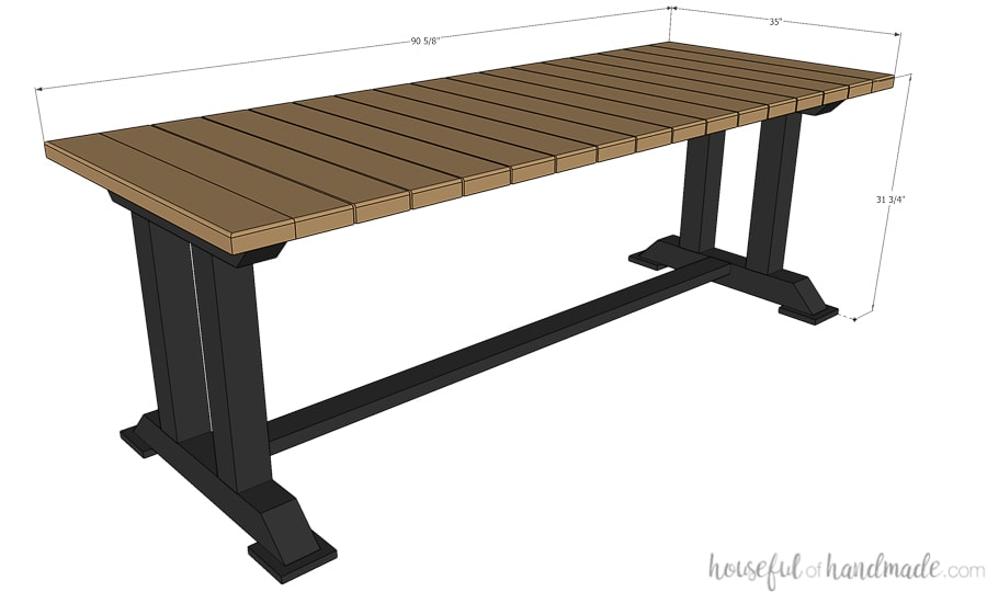 3D drawing of picnic table from build plans with final dimensions.
