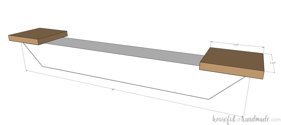 Sketch of attaching the feet to the table leg pieces as part of the picnic table plans.