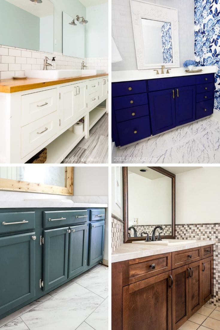 DIY Bathroom Vanity Ideas Collage of Four Bathroom Vanities