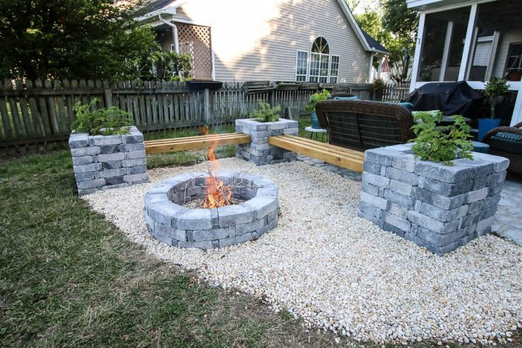 Our Hardscape Benches + Fire Pit with The Home Depot