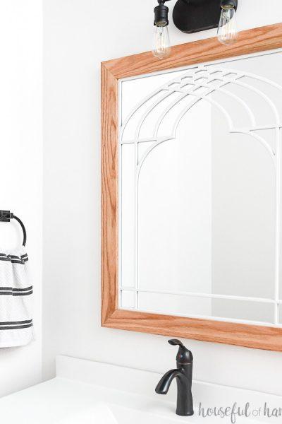 DIY Window frame mirror in bathroom above the vanity.