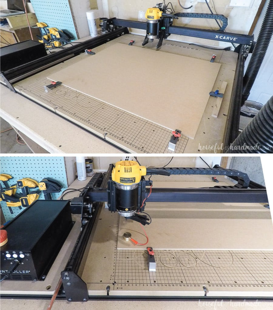 Clamping the MDF to the x-carve and setting the machine up to start.