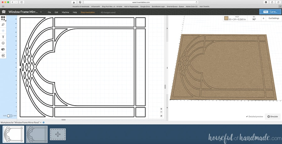 The DIY bathroom mirror design opened in the Easel software.