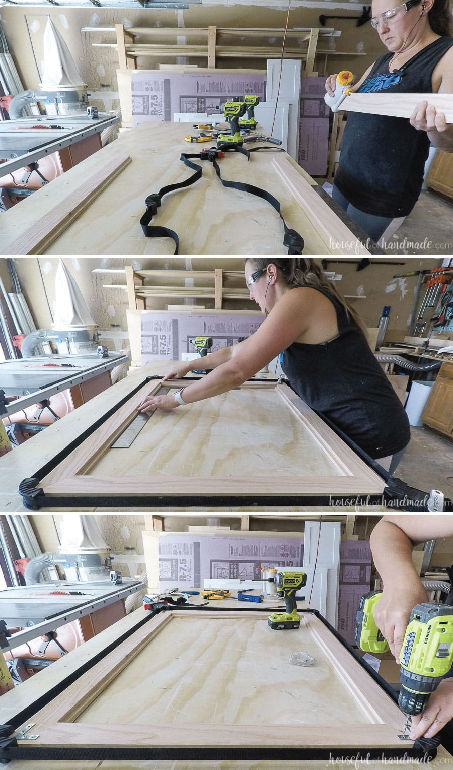 Assembling the oak frame to go around the DIY bathroom mirror.
