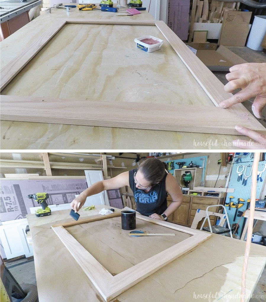 Finishing and sealing the bathroom vanity mirror frame.